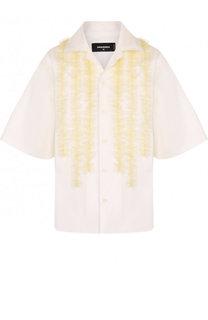 Блуза с укороченным рукавом и оборками Dsquared2