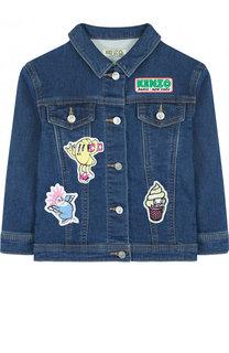 Джинсовая куртка с аппликациями Kenzo