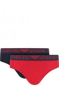 Комплект из двух хлопковых брифов с широкой резинкой Emporio Armani