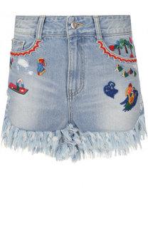 Джинсовые мини-шорты с потертостями и вышивкой Steve J & Yoni P