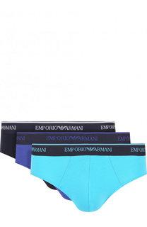 Комплект из трех хлопковых брифов с широкой резинкой Emporio Armani