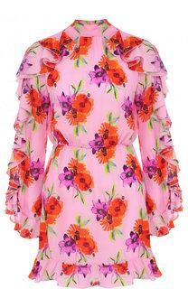 Шелковое мини-платье с цветочным принтом и оборками MSGM