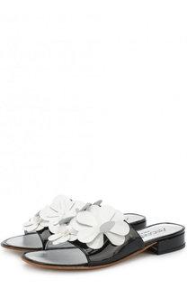 Лаковые шлепанцы с цветочным декором Simonetta