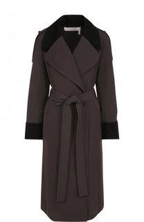 Однотонное пальто из полиэстера с поясом See by Chloé