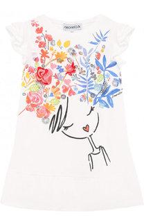 Хлопковое мини-платье свободного кроя с принтом Simonetta
