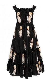 Хлопковое платье-миди с завышенной талией и принтом Dolce & Gabbana