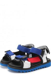 Кожаные сандалии с застежками велькро и текстильной отделкой Gallucci