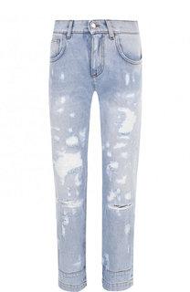 Укороченные джинсы прямого кроя с потертостями Dolce & Gabbana