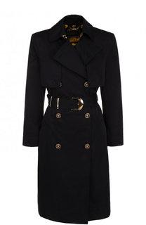 Однотонное хлопковое пальто с поясом Versace