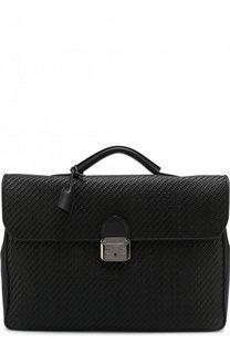 Кожаный портфель с плечевым ремнем Ermenegildo Zegna