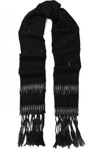 Шерстяной шарф с бахромой и отделкой Saint Laurent