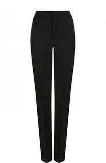 Однотонные шерстяные брюки прямого кроя Saint Laurent