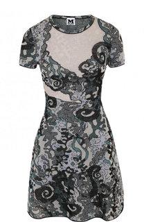 Приталенное вязаное мини-платье с рисунком M Missoni