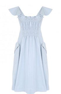 Однотонное приталенное платье-миди из хлопка Carven