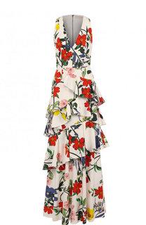 Приталенное платье-макси с принтом и оборками Alice + Olivia