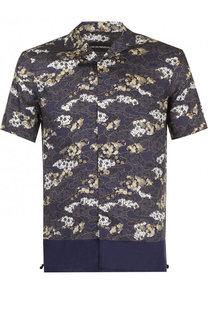 Рубашка с короткими рукавами из смеси вискозы и шелка Emporio Armani