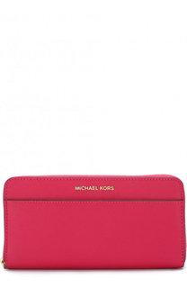 Кожаный кошелек на молнии с логотипом бренда MICHAEL Michael Kors