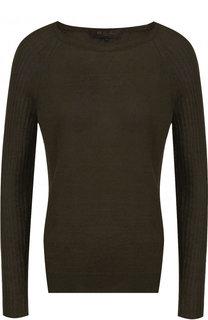 Однотонный пуловер из смеси льна и шелка Loro Piana