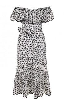 Приталенное хлопковое платье с принтом Lisa Marie Fernandez