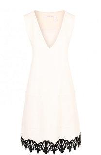 Мини-платье с V-образным вырезом и контрастной отделкой See by Chloé