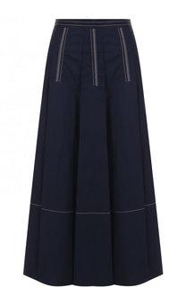 Хлопковая юбка-миди с контрастной прострочкой Marni
