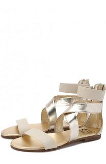 Кожаные сандалии с металлизированной отделкой Gallucci