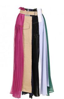 Юбка-макси асимметричного кроя с поясом Sacai