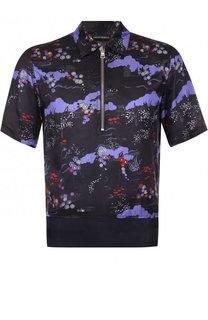 Рубашка с короткими рукавами из смеси вискозы и шелка с воротником на молнии Emporio Armani