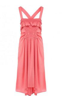 Шелковое платье-миди с оборками и драпировкой Carven