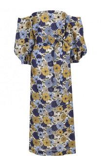 Приталенное льняное платье-миди с принтом Lisa Marie Fernandez