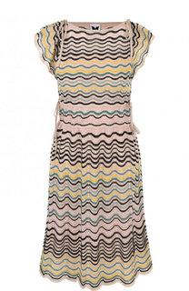 Вязаное приталенное мини-платье без рукавов M Missoni