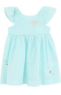 Хлопковое платье с вышивкой и оборкой Tartine Et Chocolat