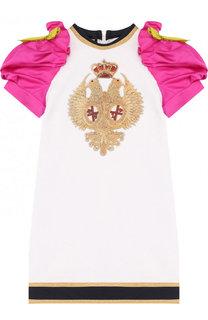 Хлопковое мини-платье с вышивкой и контрастными рукавами Dsquared2