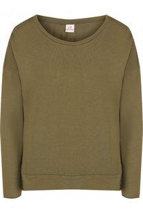 Однотонный хлопковый пуловер свободного кроя с круглым вырезом Deha