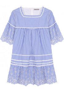 Хлопковое мини-платье с кружевной отделкой Ermanno Scervino