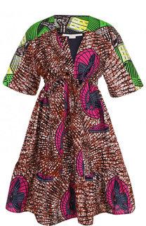 Приталенное хлопковое платье с принтом Stella McCartney