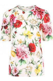 Шелковый топ с коротким рукавом и цветочным принтом Dolce & Gabbana