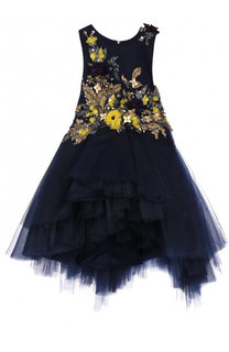 Пышное платье асимметричного кроя с вышивкой пайетками и декором Mischka Aoki