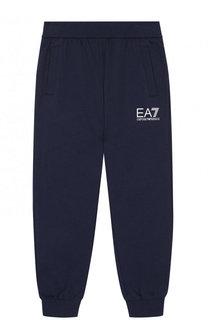 Хлопковые джоггеры с логотипом бренда Ea 7