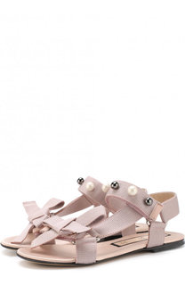 Текстильные сандалии с застежками велькро и жемчужинами No. 21