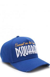 Хлопковая бейсболка с вышивкой Dsquared2