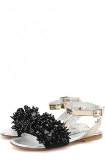 Кожаные сандалии на ремешке с кристаллами Dsquared2