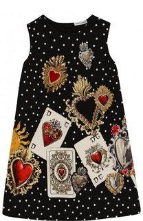 Хлопковое мини-платье А-силуэта с принтом Dolce & Gabbana