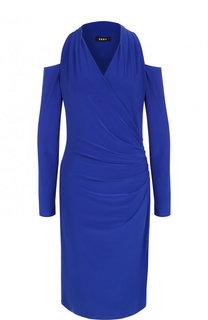 Однотонное платье-миди с разрезами на плечах и драпировкой DKNY