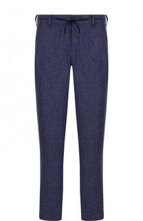 Льняные брюки прямого кроя Emporio Armani