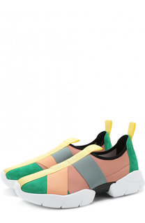Комбинированные кроссовки с эластичными лентами Emilio Pucci