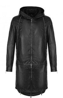 Кожаное пальто на молнии с капюшоном Emporio Armani
