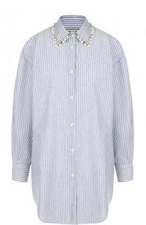 Хлопковая блуза свободного кроя с декорированным воротником Paul&Joe Paul&Joe