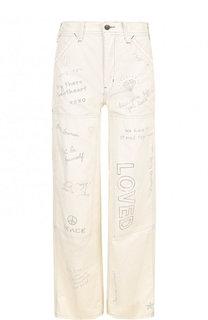 Джинсы с завышенной талией и контрастным принтом Polo Ralph Lauren