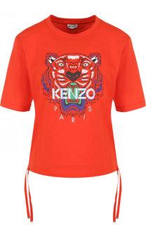 Хлопковая футболка с принтом и круглым вырезом Kenzo